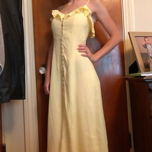 Yellow button up maxi dress!